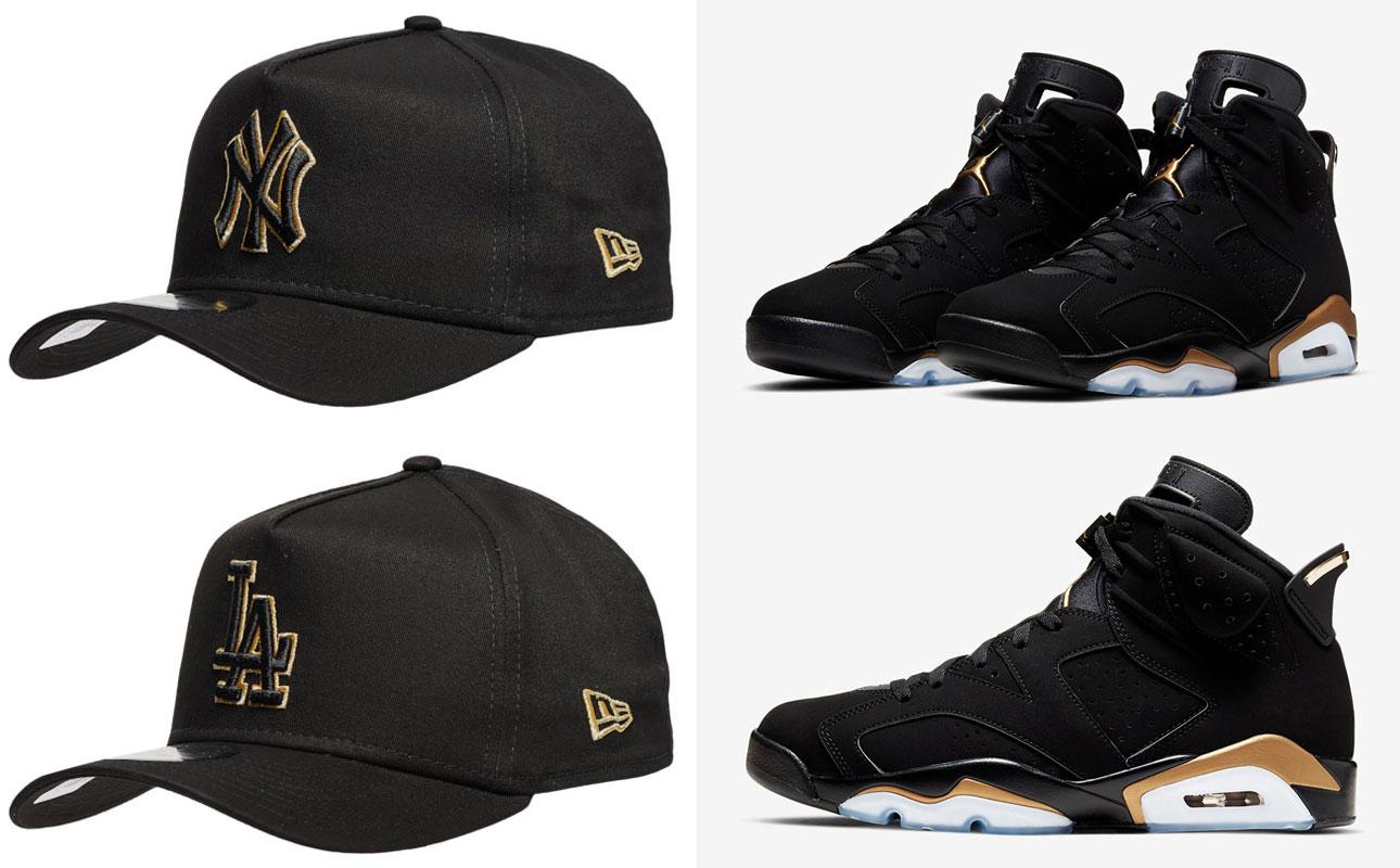 air-jordan-6-dmp-black-gold-mlb-new-era-hats