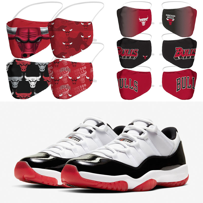 jordan-11-low-white-black-red-bulls-face-masks