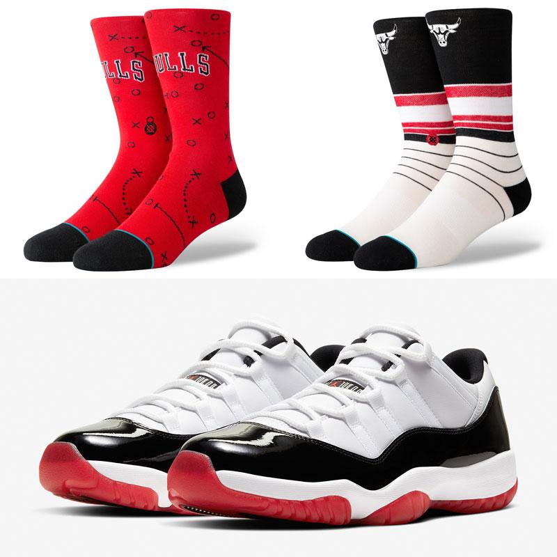 jordan-11-low-white-black-red-bulls-socks