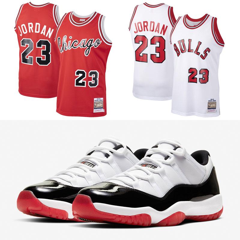 jordan-11-low-white-black-red-jersey-match