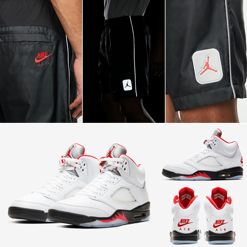 jordan-5-fire-red-reflective-shorts