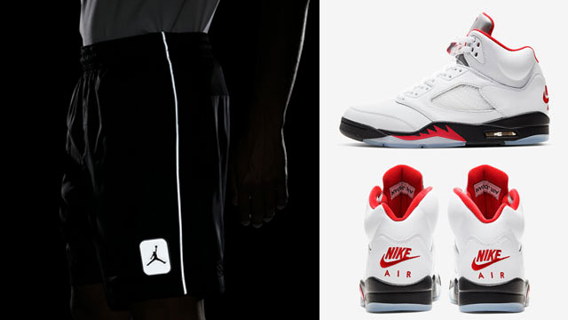 jordan-5-fire-red-silver-tongue-shorts