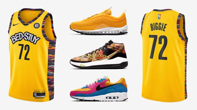 nike biggie brooklyn nets yellow jersey matching shoes