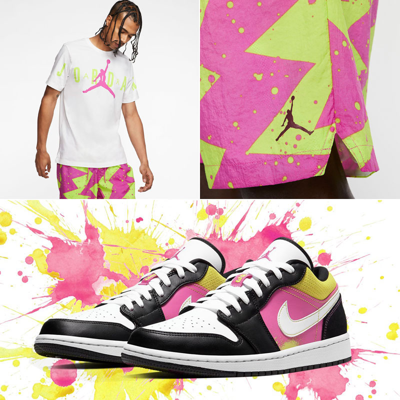 air-jordan-1-low-splatter-fuchsia-cyber-shirt-shorts-outfit