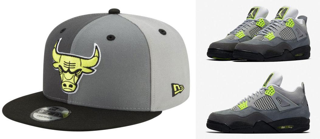 air-jordan-4-neon-new-era-bulls-snapback-hat