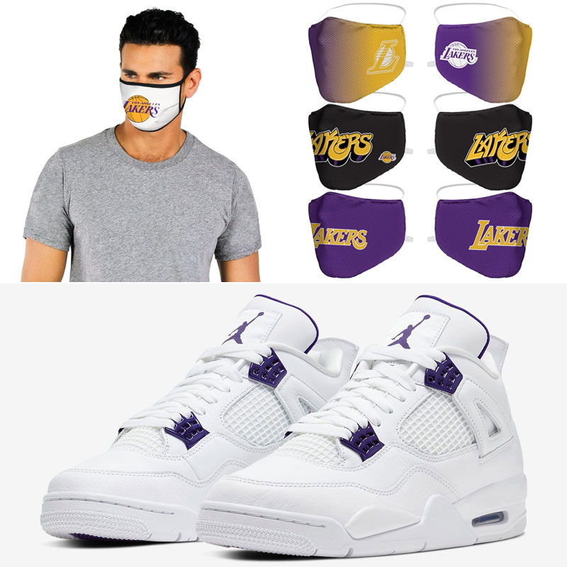 air-jordan-4-purple-metallic-la-lakers-face-cover-masks