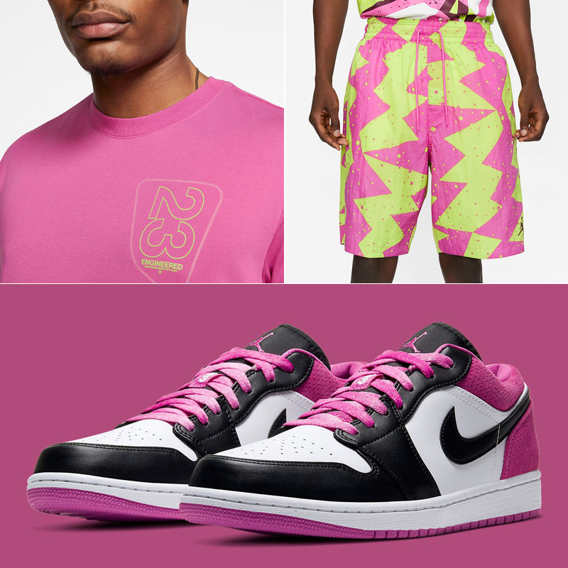 air-jordan-1-low-active-fuchsia-shirt-shorts-outfit