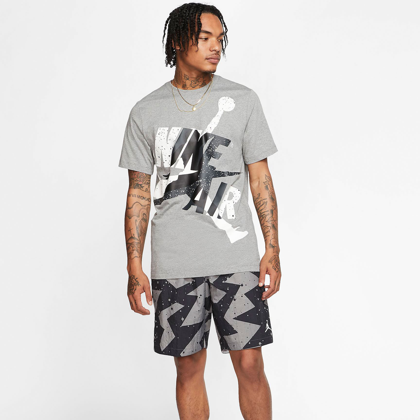Air Jordan 1 Mid Smoke Grey Shirt Shorts Outfit Sneakerfits Com