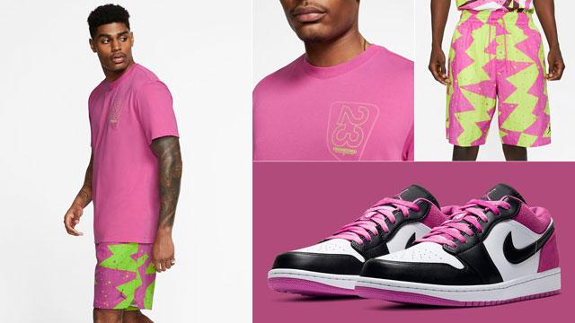 jordan-1-low-fuchsia-shirt-shorts-sneaker-outfit