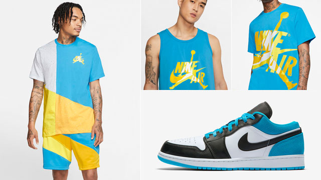 jordan-1-low-laser-blue-shirts-shorts-matching-outfits