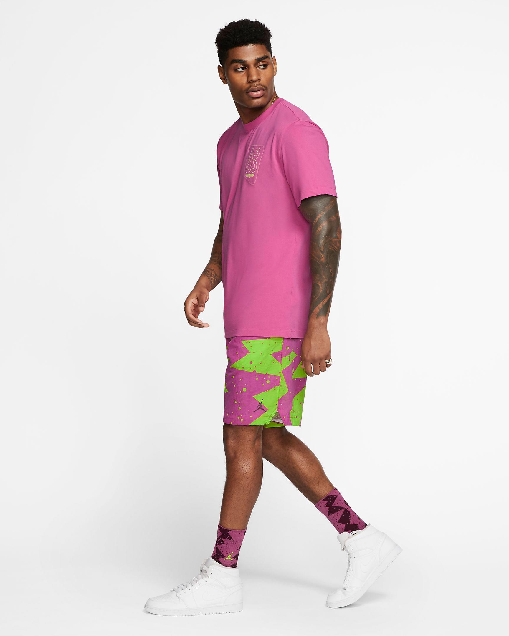 jordan-fuchsia-shirt-shorts-outfit
