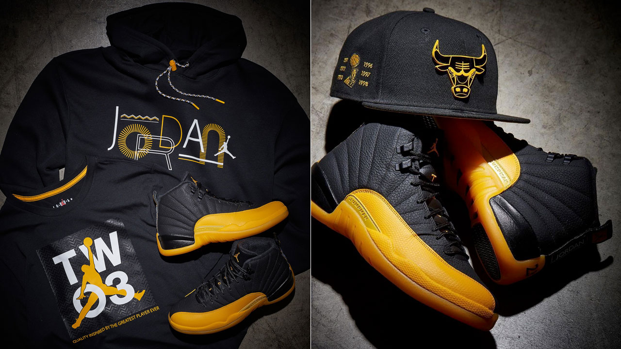 air-jordan-12-university-gold-hat-shirt-hoodie-outfit