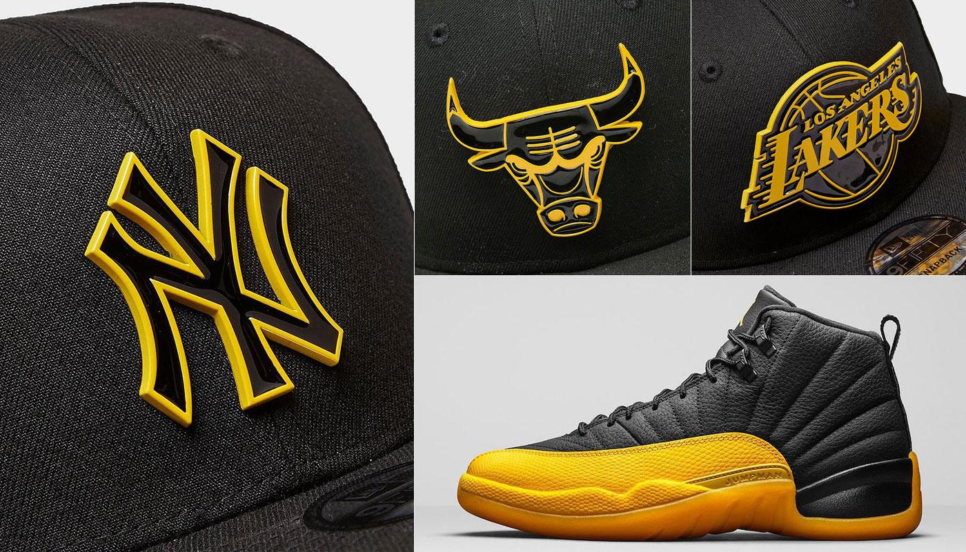 air-jordan-12-university-gold-sneaker-match-hats