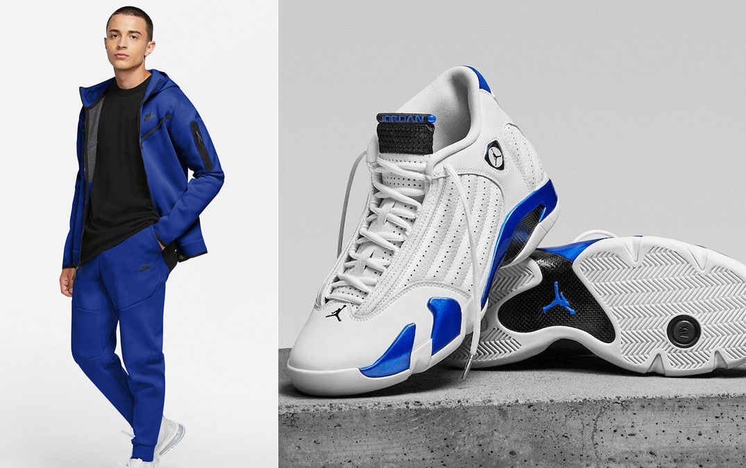 air-jordan-14-hyper-royal-nike-hoodie-jogger-pant-match