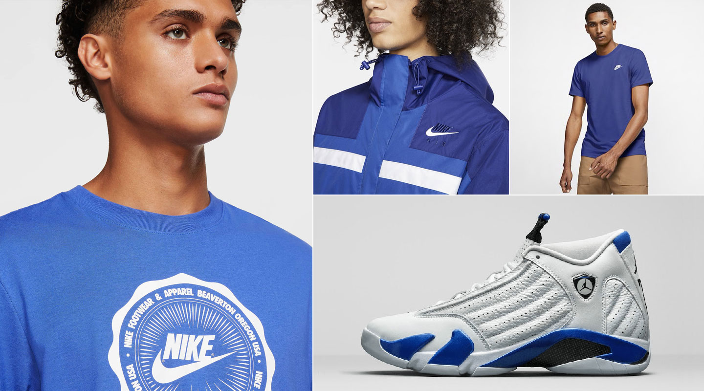 air-jordan-14-white-hyper-royal-nike-apparel-match