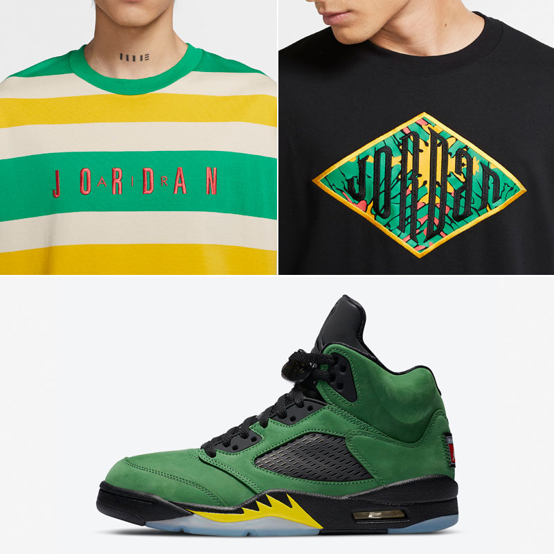 air-jordan-5-oregon-ducks-apple-green-shirts