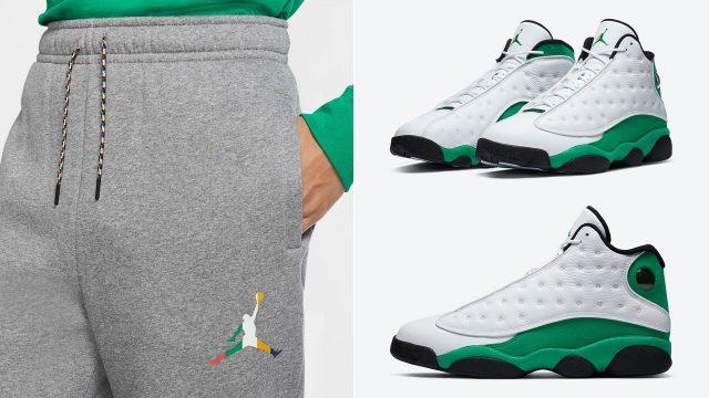 jordan-13-lucky-green-pants-match