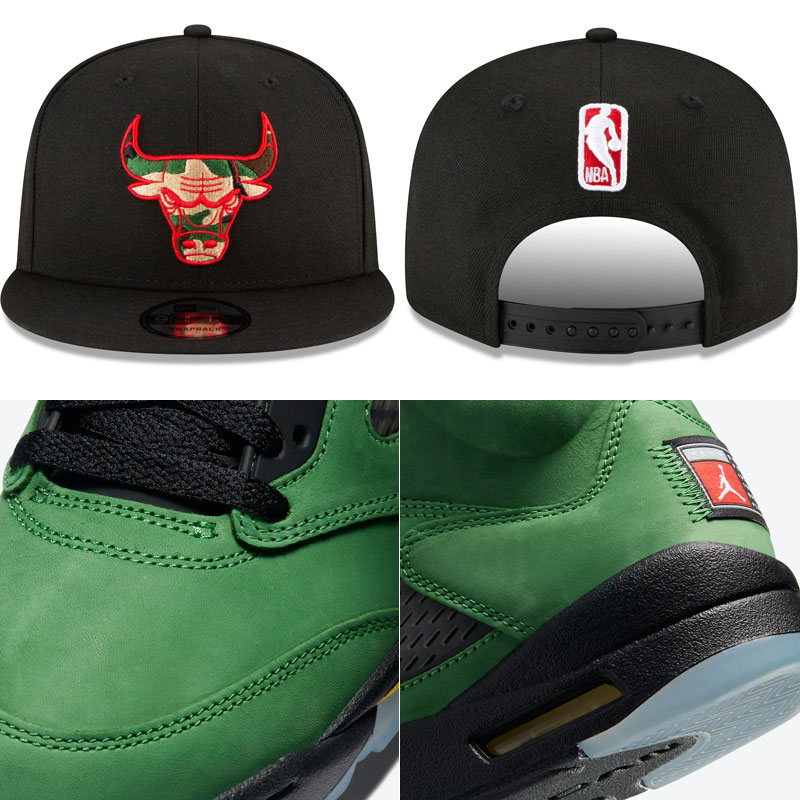 jordan-5-oregon-apple-green-bulls-matching-hat