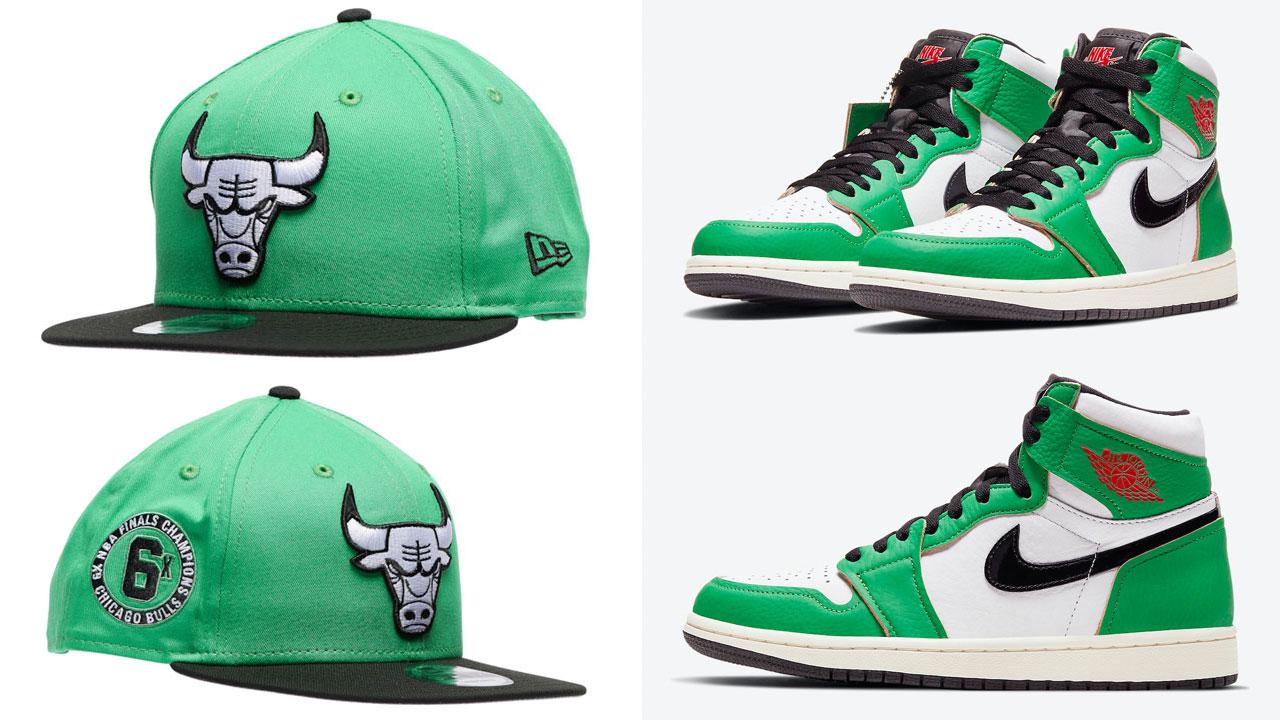 air-jordan-1-high-lucky-green-bulls-snapback-hat