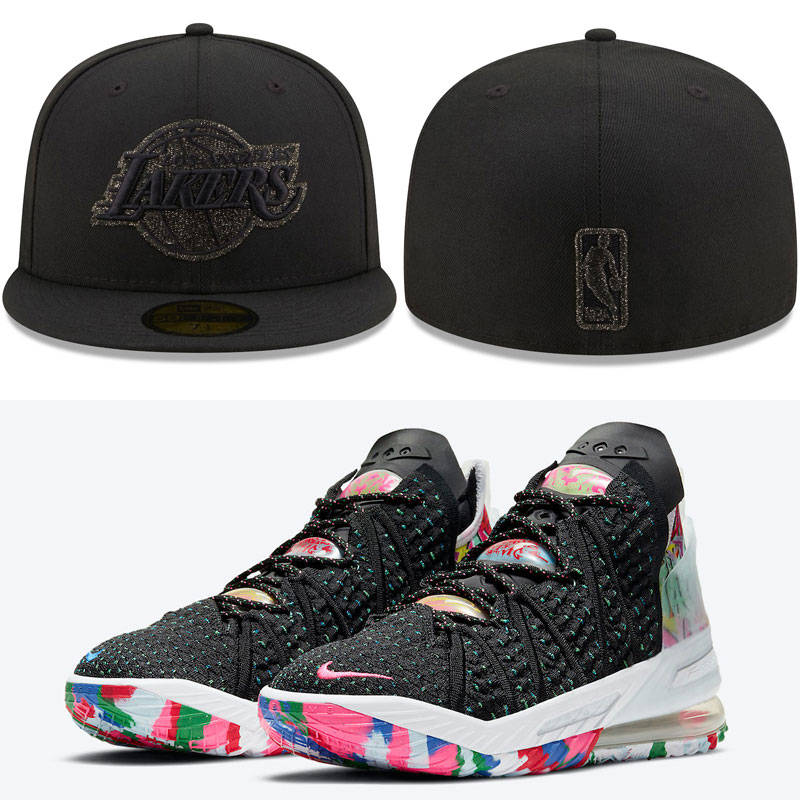 nike-lebron-18-james-gang-lakers-hat-match