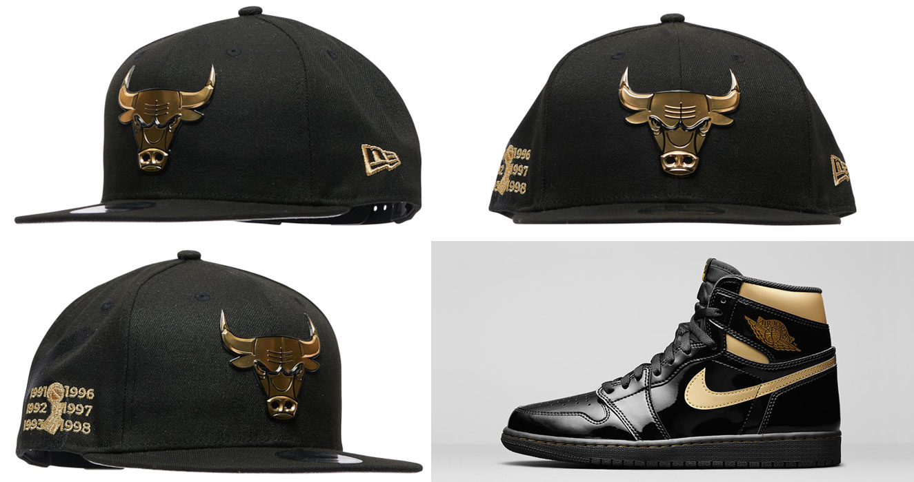 air-jordan-1-high-black-gold-patent-bulls-hat