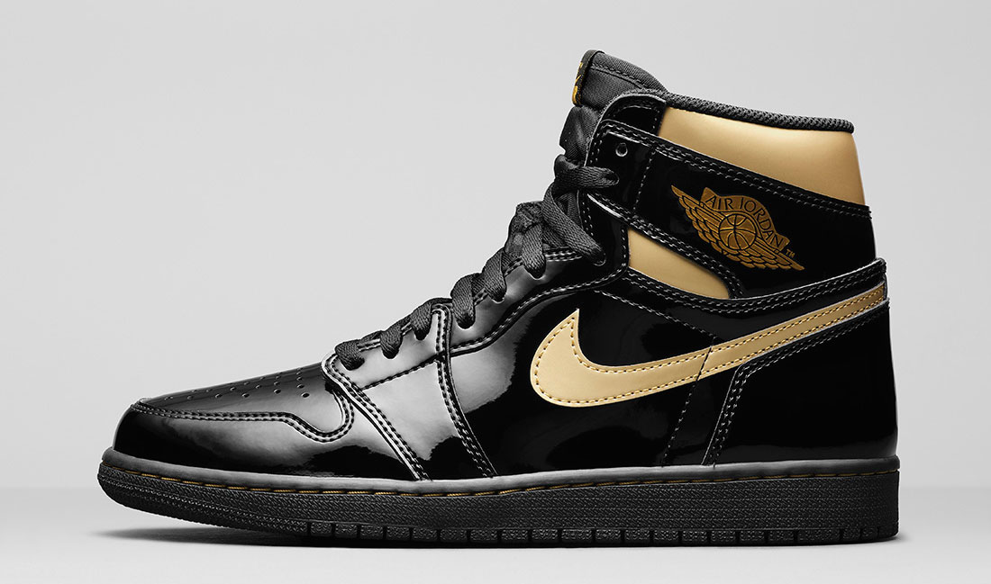 air-jordan-1-high-patent-black-gold-sneaker-clothing-match