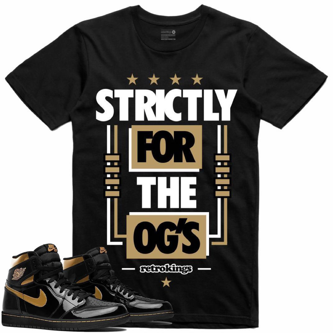 air-jordan-1-high-patent-black-gold-sneaker-tee-shirt-retro-kings-1