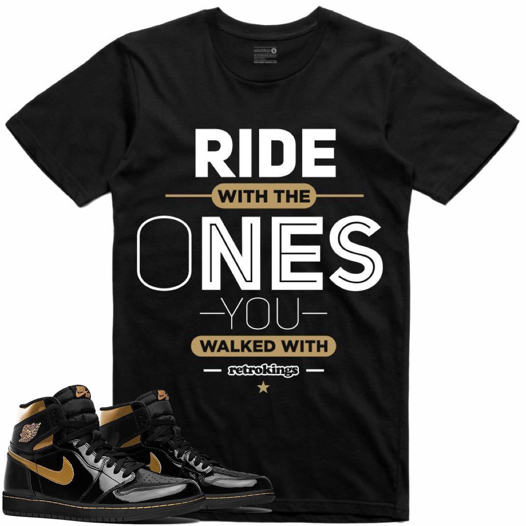air-jordan-1-high-patent-black-gold-sneaker-tee-shirt-retro-kings-2