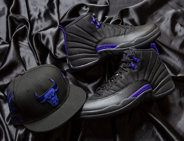air-jordan-12-black-dark-concord-new-era-bulls-hat