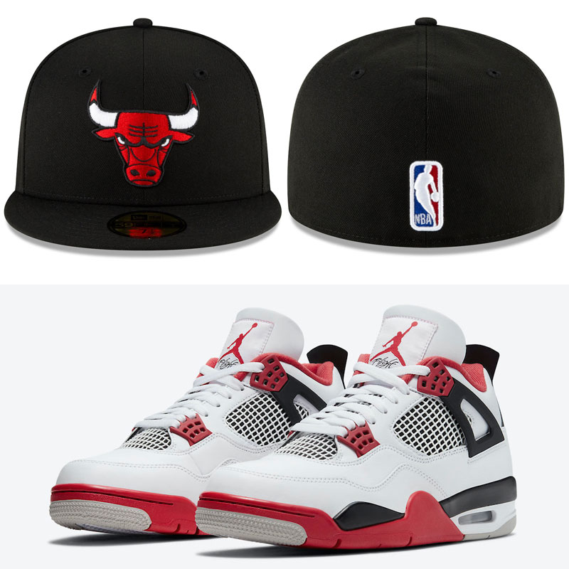 air-jordan-4-fire-red-bulls-fitted-hat