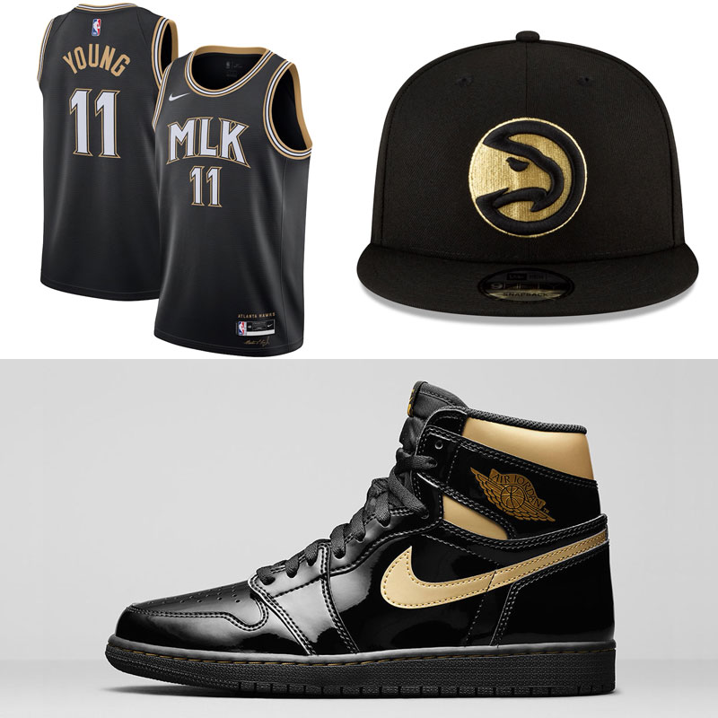 jordan-1-high-black-gold-atlanta-hawks-clothing-hats