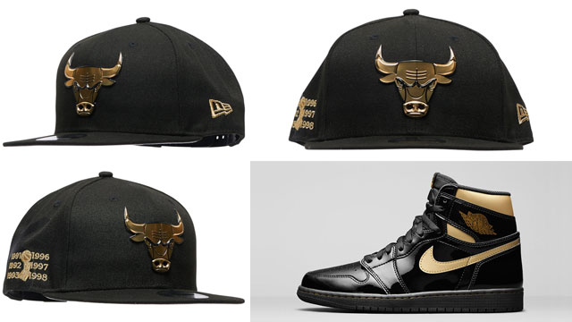 jordan-1-high-patent-black-gold-bulls-new-era-cap