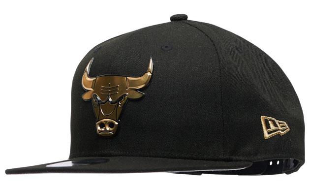 jordan-1-high-patent-black-gold-bulls-new-era-hat-1