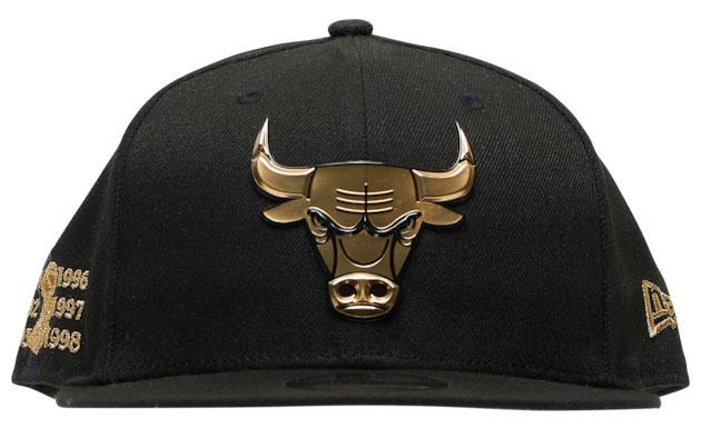 jordan-1-high-patent-black-gold-bulls-new-era-hat-2