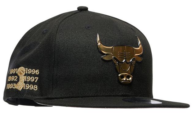 jordan-1-high-patent-black-gold-bulls-new-era-hat-3