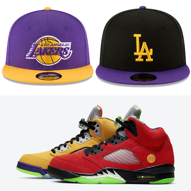jordan-5-what-the-lakers-hats-to-match