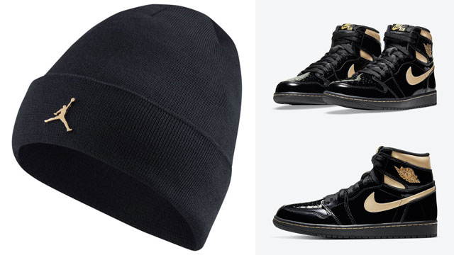 air-jordan-1-black-gold-beanie-knit-hat