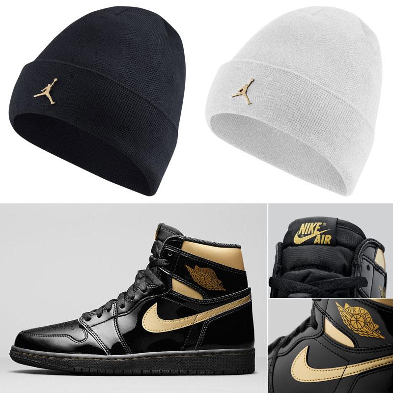 air-jordan-1-high-black-gold-knit-beanie-hats