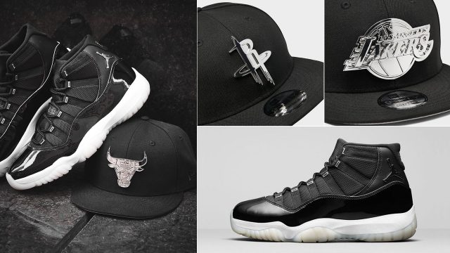 air-jordan-11-jubilee-black-silver-new-era-hats