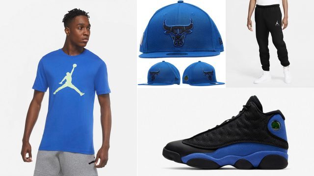 air-jordan-13-black-hyper-royal-shirt-hat-outfit