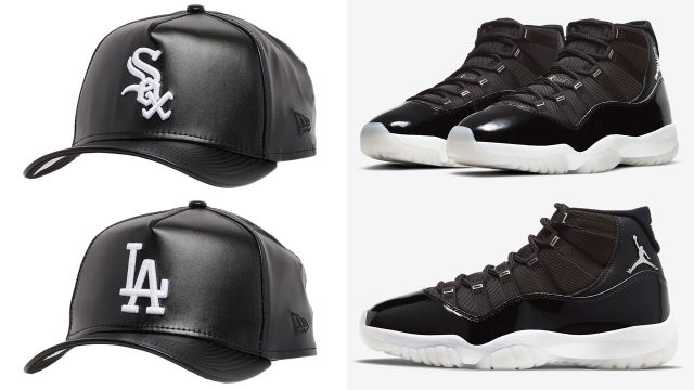 jordan-11-jubilee-black-white-new-era-leather-mlb-hats