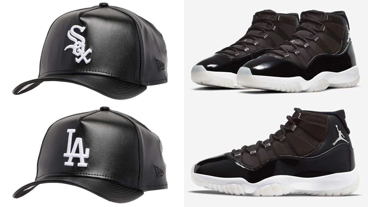 jordan-11-jubilee-black-white-new-era-leather-mlb-hats