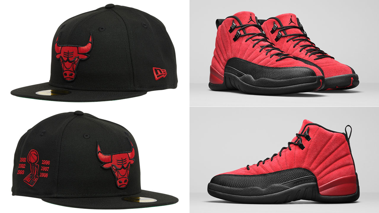 jordan-12-reverse-flu-game-bulls-new-era-59fifty-fitted-hat