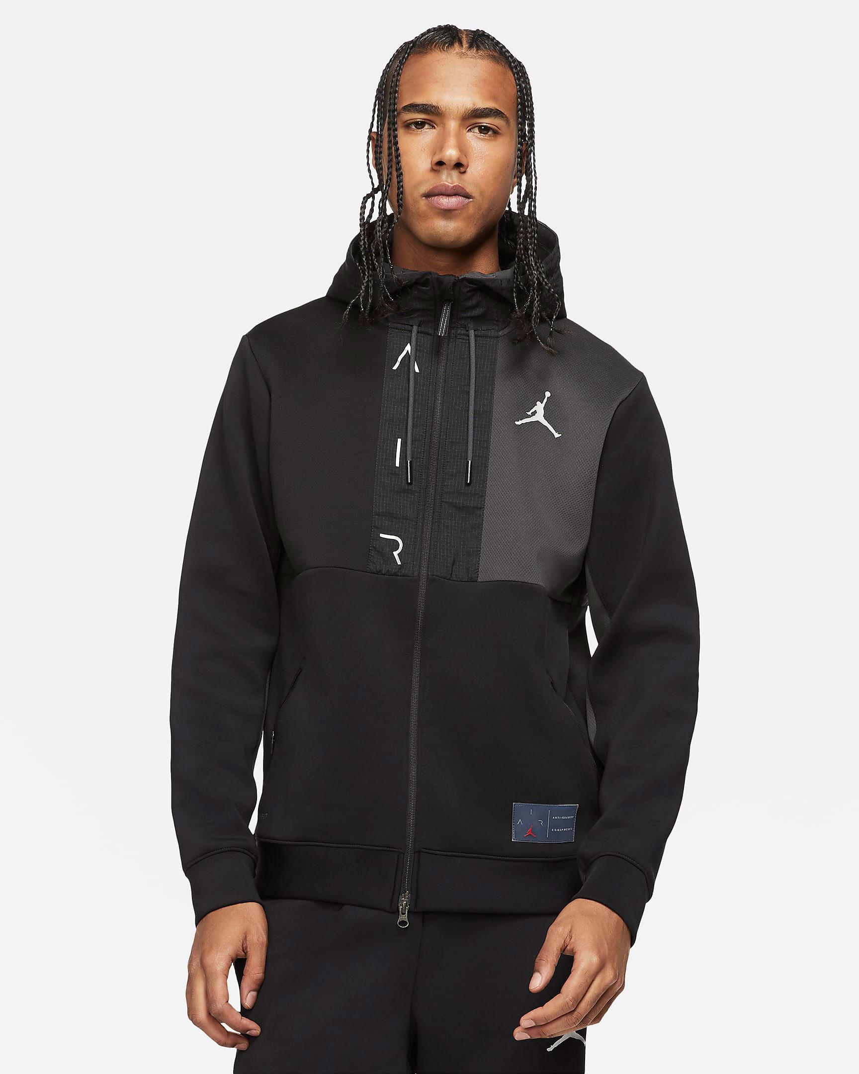 jordan-air-fleece-full-zip-hoodie-black-white-1