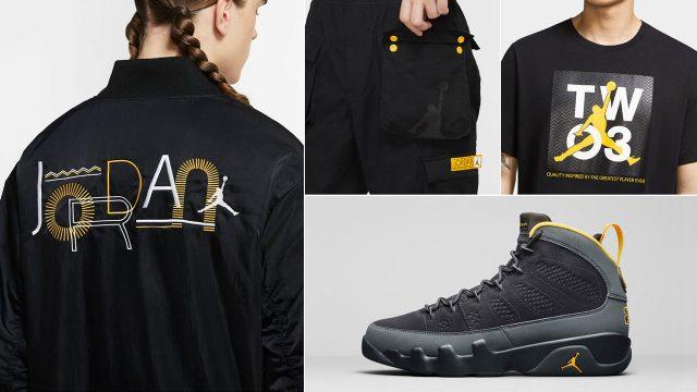 air-jordan-9-university-gold-sneaker-outfit-shirt-jacket-pants