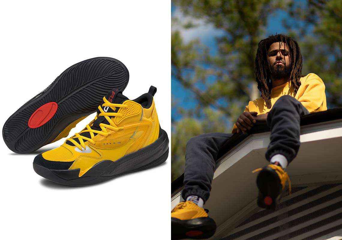 j-cole-puma-dreamer-2-mid-yellow-sneaker-outfits
