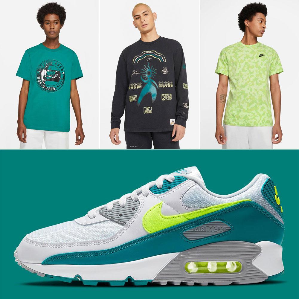 nike-air-max-90-spruce-hot-lime-shirts