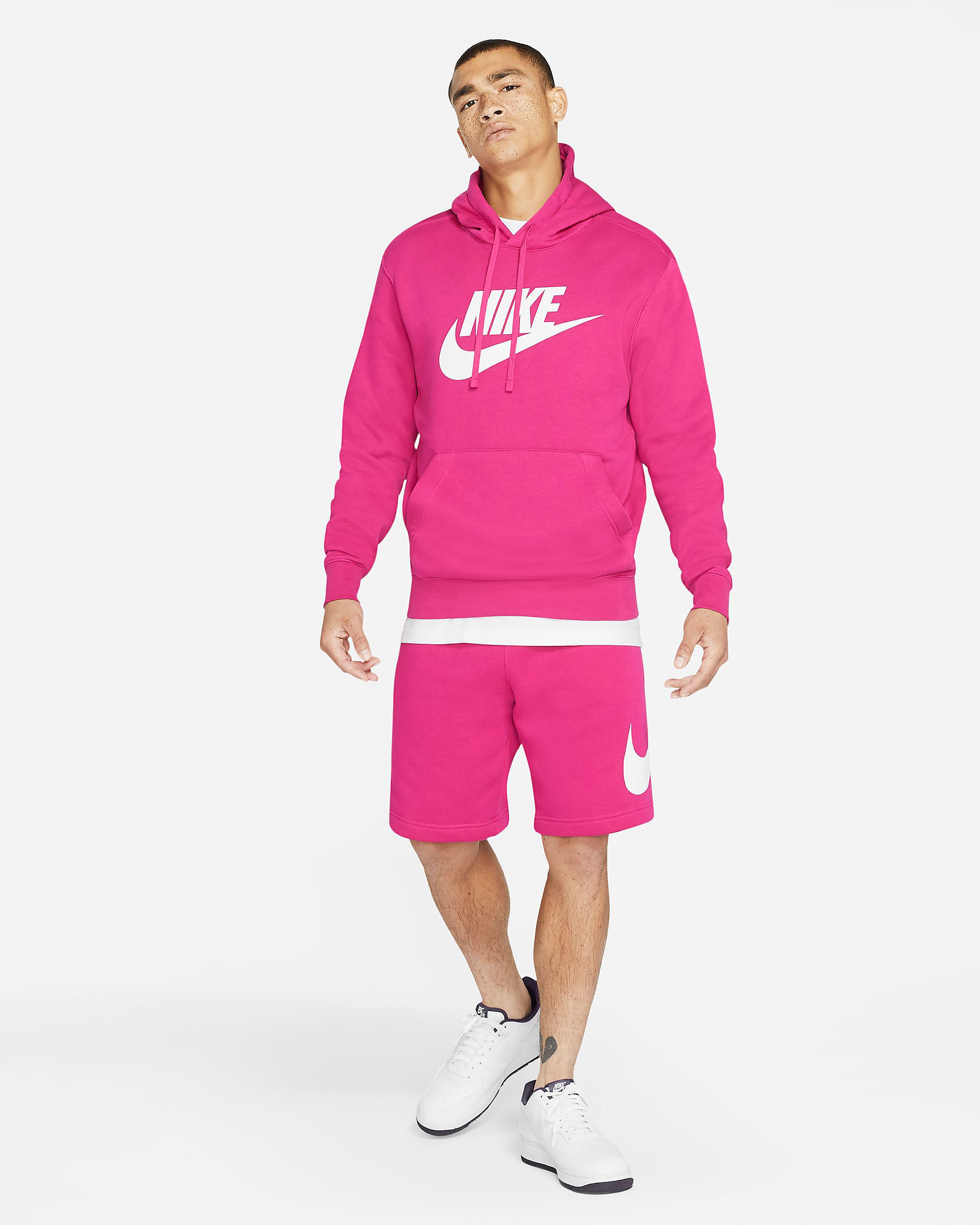 nike-club-fleece-hoodie-shorts-fireberry-pink-outfit