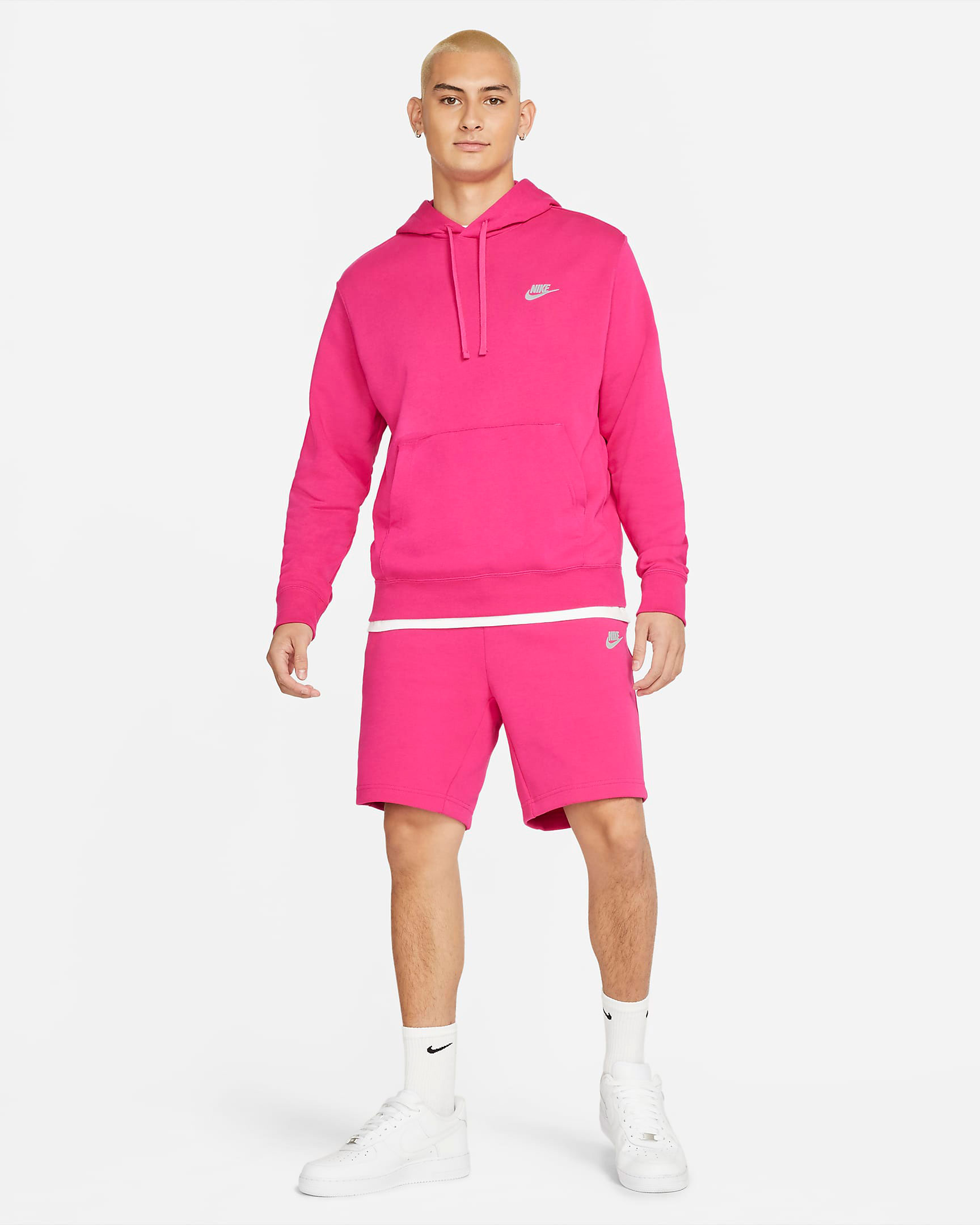 nike-fireberry-pink-hoodie-shorts-outfit