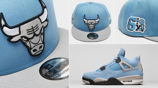 air-jordan-4-university-blue-grey-bulls-snapback-cap